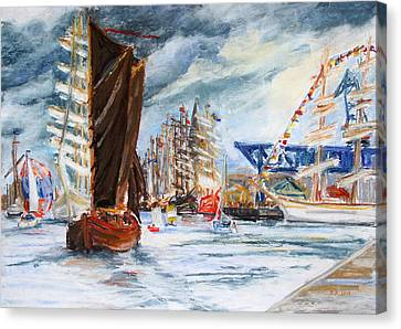 Arrival At The Hanse Sail Rostock Canvas Print by Barbara Pommerenke