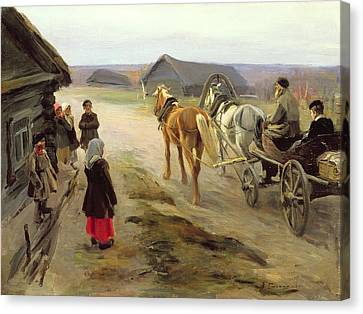 Horse And Cart Canvas Print - Arrival Of A School-mistress In The Country, C.1908-14 Oil On Canvas by Alexei Steipanovitch Stepanov