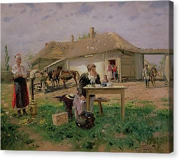 Arrival Of A School Mistress In The Countryside, 1897 Oil On Canvas Canvas Print by Vladimir Egorovic Makovsky