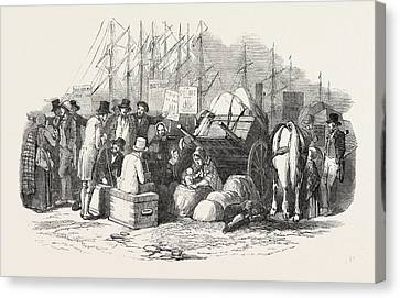 Cork Canvas Print - Arrival Of Emigrants At Cork, A Scene On The Quay by Irish School