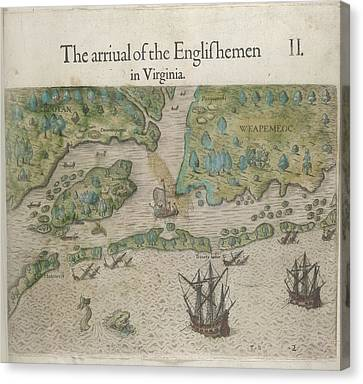 Arrival Of Englishmen Canvas Print by British Library
