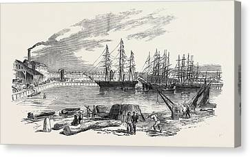 Arrival Of The John Bowes Screw Steamer In The Collier Dock Canvas Print by English School