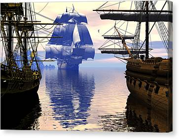 Arrival Of The Man-o-war Canvas Print