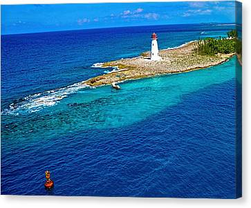 Canvas Print featuring the photograph Arriving In The Bahamas by Pamela Blizzard