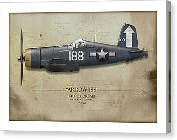 Arrow 188 F4u Corsair - Map Background Canvas Print