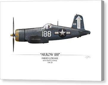Arrow 188 F4u Corsair - White Background Canvas Print by Craig Tinder