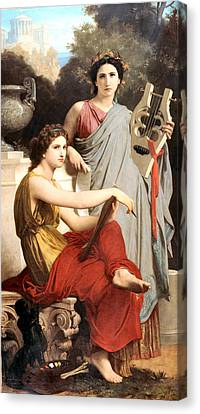 Art And Literature Canvas Print by William Bouguereau