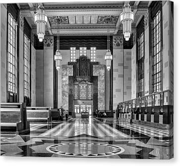 Art Deco Great Hall #1 - Bw Canvas Print by Nikolyn McDonald