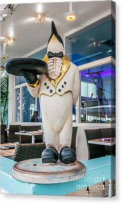 Art Deco Penguin Waiter South Beach Miami Canvas Print by Ian Monk