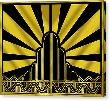 Art Deco Poster - Two Canvas Print by Chuck Staley