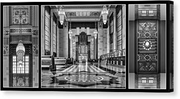 Art Deco Triptych #1 - Bw Canvas Print
