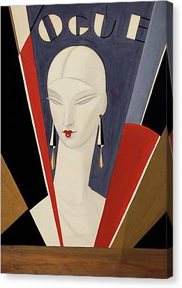 Art Deco Jewelry Canvas Print - Art Deco Vogue Cover Of A Woman's Head by Eduardo Garcia Benito