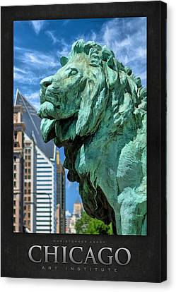 Art Institute In Chicago Lion Poster Canvas Print by Christopher Arndt