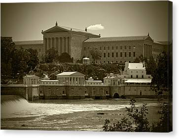 Art Museum And Fairmount Waterworks - Bw Canvas Print
