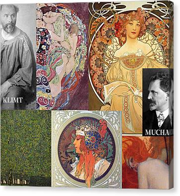 Art Nouveau Collage Canvas Print by Philip Ralley
