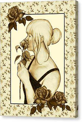 Art Nouveau Style Woman With Roses Canvas Print by Joyce Geleynse
