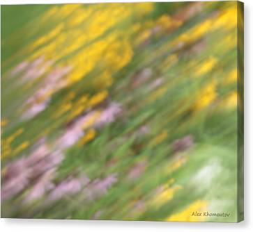 Art Of Floral Movement Abstract - Dancing Healing Flowers - Echinacea And Yellow Coneflowers Canvas Print by Alex Khomoutov