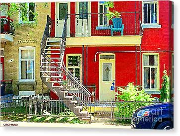 Art Of Montreal Upstairs Porch With Summer Chair Red Triplex In Verdun City Scene C Spandau Canvas Print by Carole Spandau