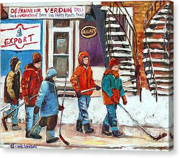 Art Of Verdun Depanneur Deli Patisserie Fleuriste Fruits Montreal Paintings Hockey Art Scenes Verdun Canvas Print by Carole Spandau