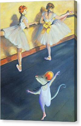 Artemouse With Dancers At The Barre Canvas Print by Debbie Patrick