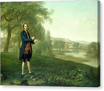 Arthur Devis, Portrait Of A Gentleman Netting Partridges Canvas Print by Litz Collection