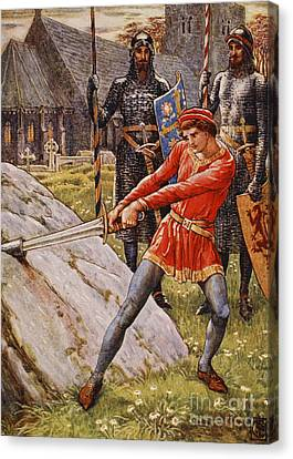 Arthur Draws The Sword From The Stone Canvas Print by Walter Crane