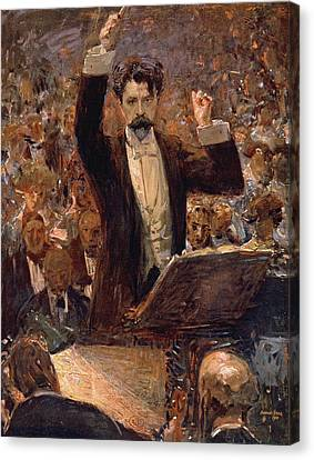 Arthur Nikisch Conducting A Concert At The Gewandhaus In Leipzig Canvas Print by Robert Sterl