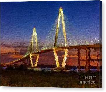 Arthur Ravenel Bridge At Evening  Canvas Print