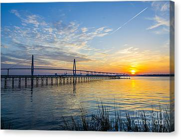Canvas Print featuring the photograph Calm Waters Over Charleston Sc by Dale Powell