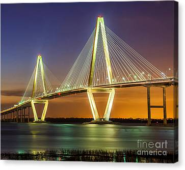 Arthur Ravenel Bridge Twilight Canvas Print