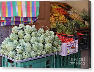 Artichokes And Asparagus Guanajuato Canvas Print by Linda Queally