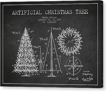 Artifical Christmas Tree Patent From 1927 - Charcoal Canvas Print by Aged Pixel