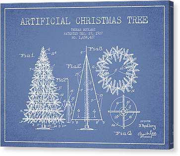 Artifical Christmas Tree Patent From 1927 - Light Blue Canvas Print by Aged Pixel