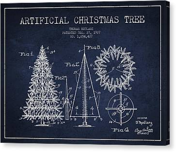 Artifical Christmas Tree Patent From 1927 - Navy Blue Canvas Print by Aged Pixel