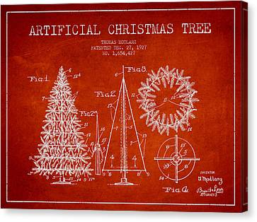Artifical Christmas Tree Patent From 1927 - Red Canvas Print