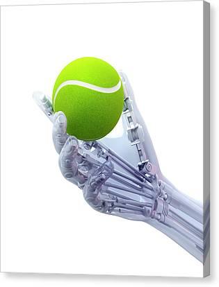 Artificial Hand Holding A Tennis Ball Canvas Print by Andrzej Wojcicki