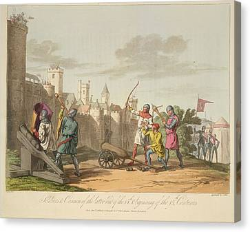 Artillery And Archers Canvas Print by British Library