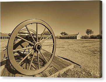 Artillery At Fort Larned National Canvas Print by Panoramic Images