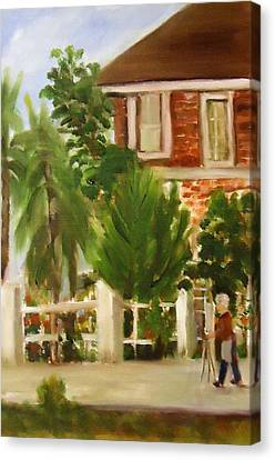 Artist In Galveston Canvas Print by Betty Pimm