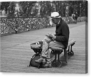 Artist On The Bridge - Paris People Series Canvas Print by Georgia Fowler