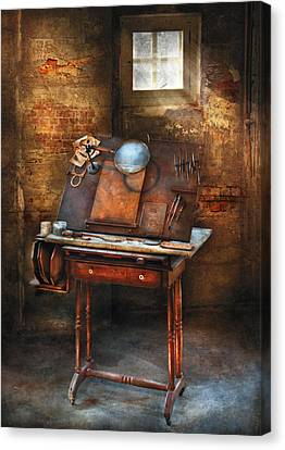 Artist - The Etching Table Canvas Print by Mike Savad
