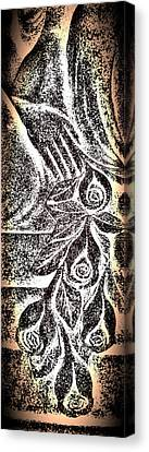 Linocut Canvas Print - Artistic Hand And Flowers by Pat Exum