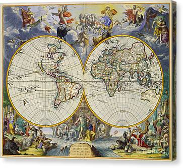 Artistic Old World Art Map  Canvas Print by Inspired Nature Photography Fine Art Photography