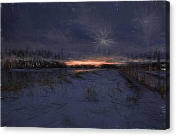Reflection Of Sun In Clouds Canvas Print - Artistic Painterly 2 Early Morning January 2015 by Leif Sohlman