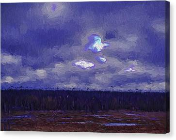 Artistic Paintiry Something In The Sky Landscape With A Coverd Sky An Early Morning Canvas Print by Leif Sohlman
