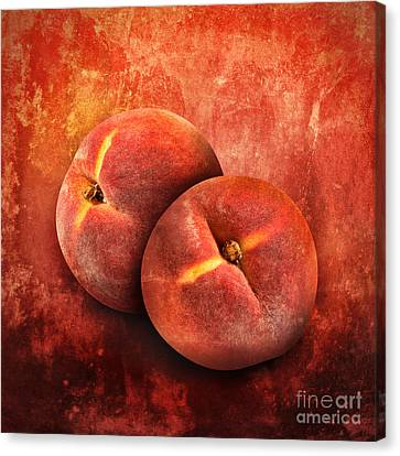 Artistic Peach Fruit On Orange Texture Canvas Print by Angela Waye