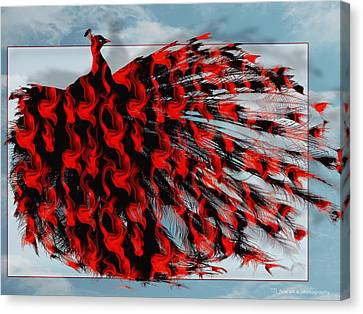 Artistic Red Peacock Canvas Print