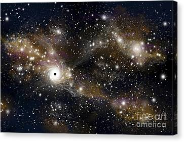 Jet Star Canvas Print - Artists Concept Of A Black Hole by Marc Ward