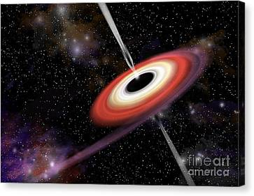 Artists Depiction Of A Black Hole Canvas Print by Marc Ward