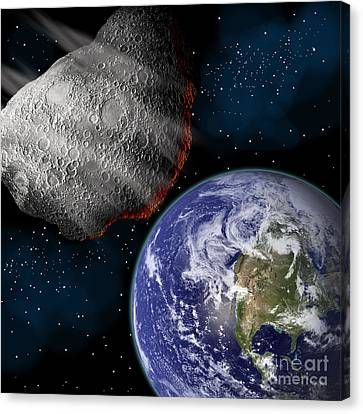 Artists Depiction Of A Large Asteroid Canvas Print